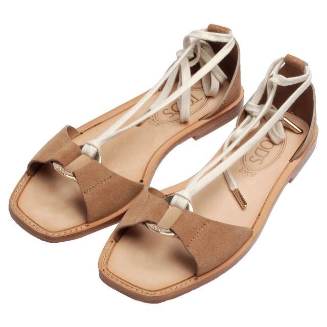 【TOD'S】經典CUOIO麂皮金屬圓牌造型繞踝綁帶平底涼鞋(卡其咖-37號XXW0PK0E410RE0S812)