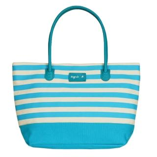 【agnes b】帆布皮標橫條紋手提包(小/水藍)