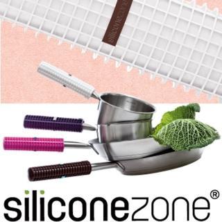 【Siliconezone】施理康耐熱矽膠方格防燙鍋把套(白色)
