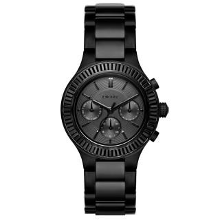【DKNY】精緻雅典娜三眼時尚腕錶-黑(NY2397)