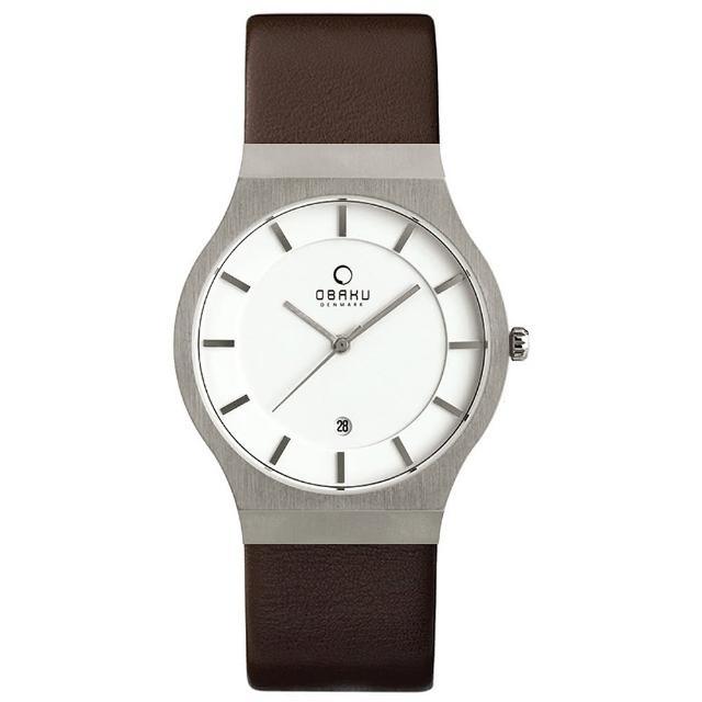 【OBAKU】極簡時代優雅時尚腕錶-咖啡帶白面/大(V123GCIRN)