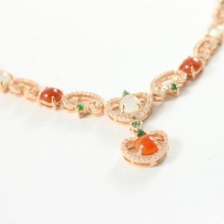 【金玉滿堂】典雅浪漫天然三彩冰種翡翠項鍊