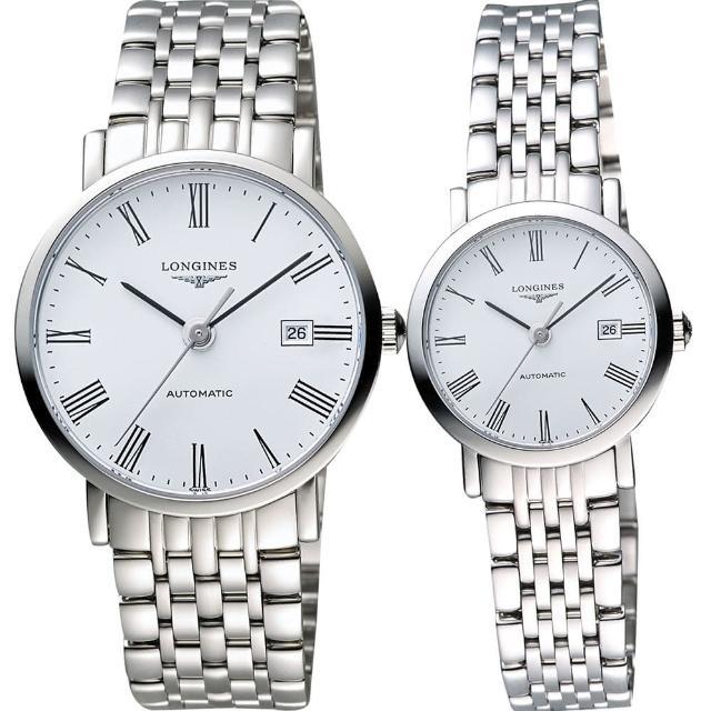 【LONGINES】Elegant 優雅系列羅馬機械對錶-白(L49104116+L43104116)