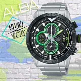 【ALBA】綠光戰警計時三眼腕錶(黑綠/46mm/VK67-X008D)
