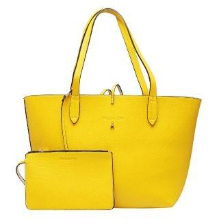 【PATRIZIA PEPE】荔枝紋雙色子母購物包(黃X鵝黃2V4741-AV63-F2SM-YAL)