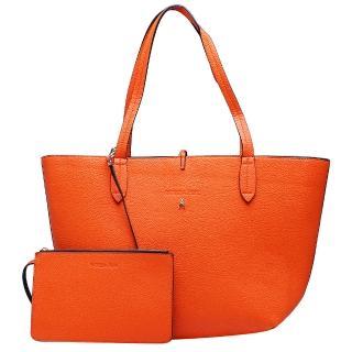 【PATRIZIA PEPE】荔枝紋雙色子母購物包(橘X黑2V4741-AV63-F2SH-ORA)