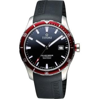 【TITONI】SEASCOPER海洋系列潛水機械錶-黑x紅圈/41mm(83985SRB-RB-517)