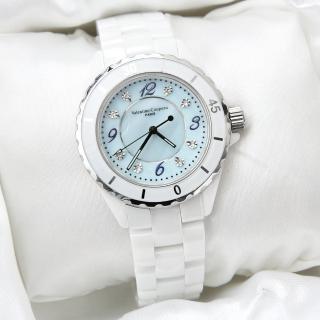 【Valentino范倫鐵諾】雪白精密全陶瓷珍珠貝面手錶 旋轉外框設計