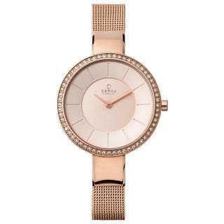 【OBAKU】采麗時刻晶鑽米蘭時尚腕錶-玫瑰金(V179LEVVMV)