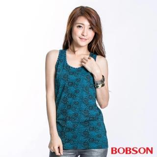 【BOBSON】女款蕾絲印圖挖背背心(藍綠23074-02)