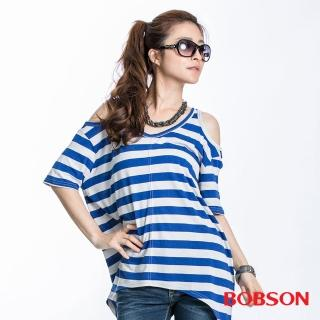 ~BOBSON~女款裸肩條紋短袖上衣 藍23090~54