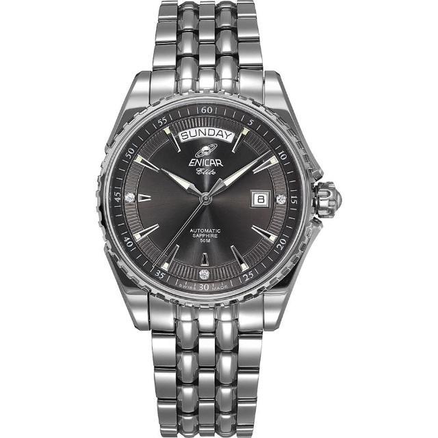 【ENICAR 英納格】英納格經典系列自動鍊帶男錶-灰x銀/39.5mm(3169-51-352aB)