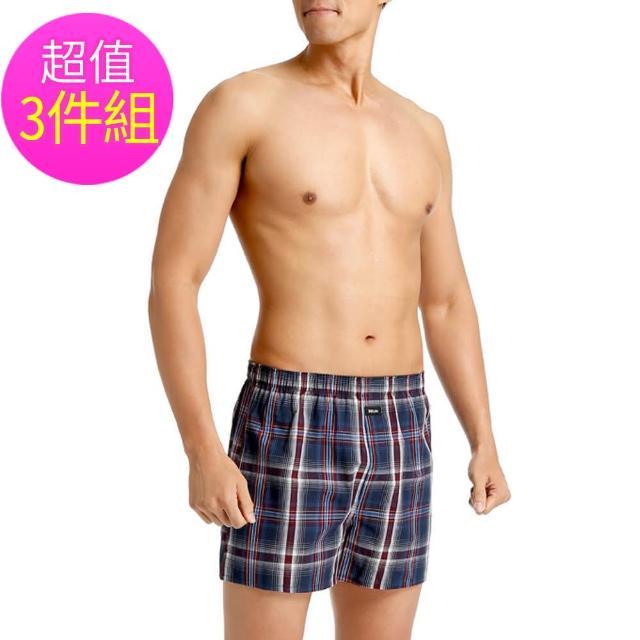 【三槍牌】時尚經典純棉型男平織棉四角褲-3件組(隨機取色M-XL)