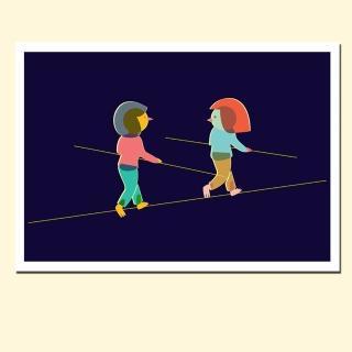 【摩達客】西班牙知名插畫家Judy Kaufmann藝術創作海報掛畫裝飾畫-朋友走鋼索(附本人簽名 含木框)