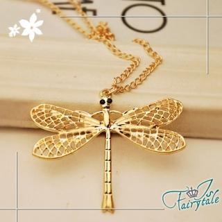 【伊飾童話】金屬翅膀*蜻蜓鏤空長鍊/金