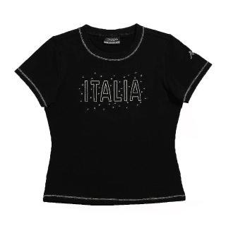 【KAPPA】KAPPA義大利舒適時尚女彈力棉彩色圓領衫(黑)