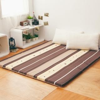 【LAMINA】雅蓆兩用透氣床墊-小花條紋-咖 5cm(雙人)