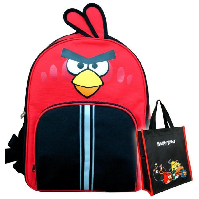 【Angry Birds憤怒鳥】1+1雙層造型護脊書背包6057+萬用手提袋(AB5)
