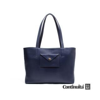 【Continuita 康緹尼】頭層牛皮日本率性女孩信封包(藍色)