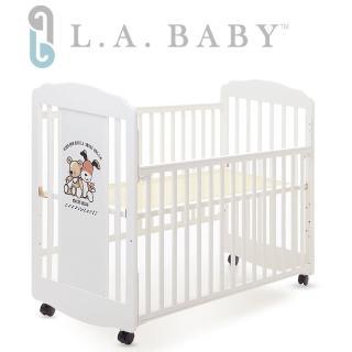 【美國 L.A. Baby】愛丁熊搖擺中小嬰兒床 原木床 童床(咖啡色 白色)