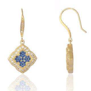 【Annabena】菱形鑲藍鋯石14K霧金垂式耳環