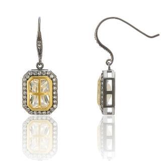 【Annabena】烏金雙色窗型鋯石耳勾式耳環