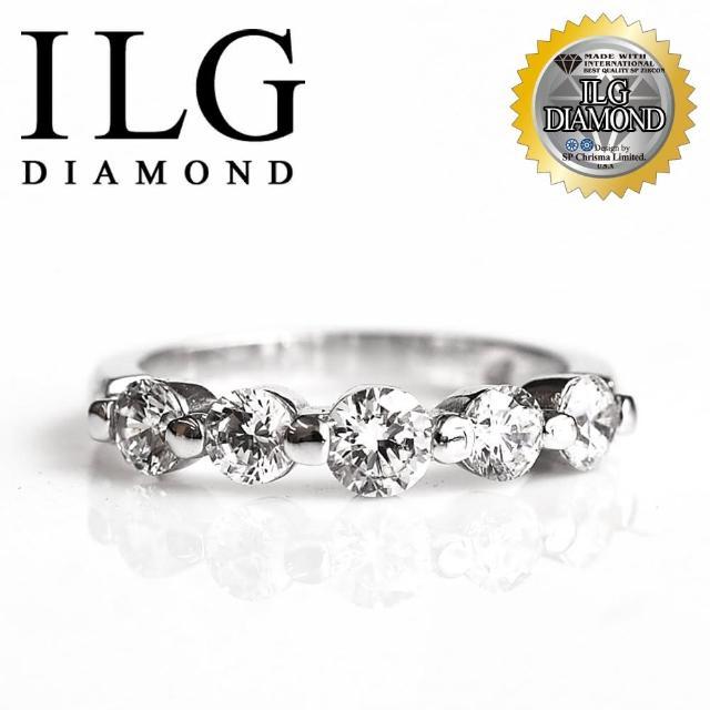 【ILG鑽】頂級八心八箭擬真鑽石戒指-RI048-歐式線戒 名媛風格款五顆美鑽線戒款(白K金色)