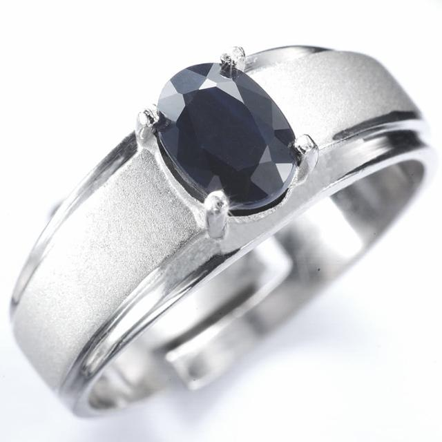【寶石方塊】真情相愛天然0.5克拉黑藍寶石戒指