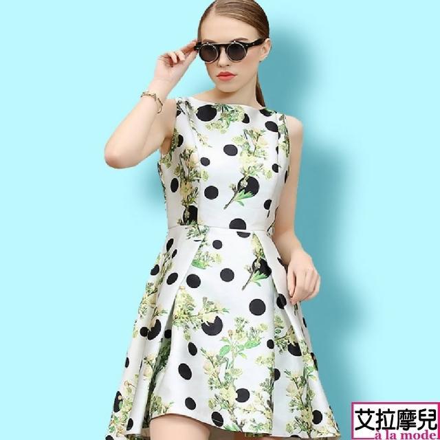 【a la mode 艾拉摩兒】花朵圖案印花圓點亮面打摺大擺燕尾裙洋裝連衣裙(S-XXL)
