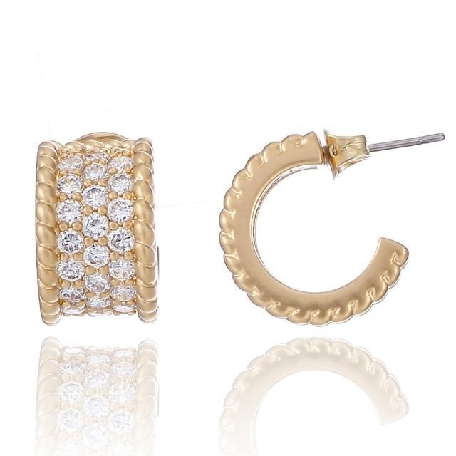 【Annabena】14K金寬小環形密鑲鋯石耳環