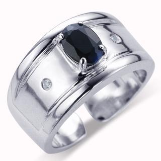 【寶石方塊】尊爵紳士天然1克拉黑藍寶石戒指