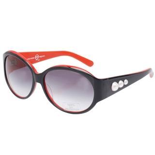 【Alexander McQueen】100%抗UV珍珠造型太陽眼鏡(黑X紅MC 23364-C3)
