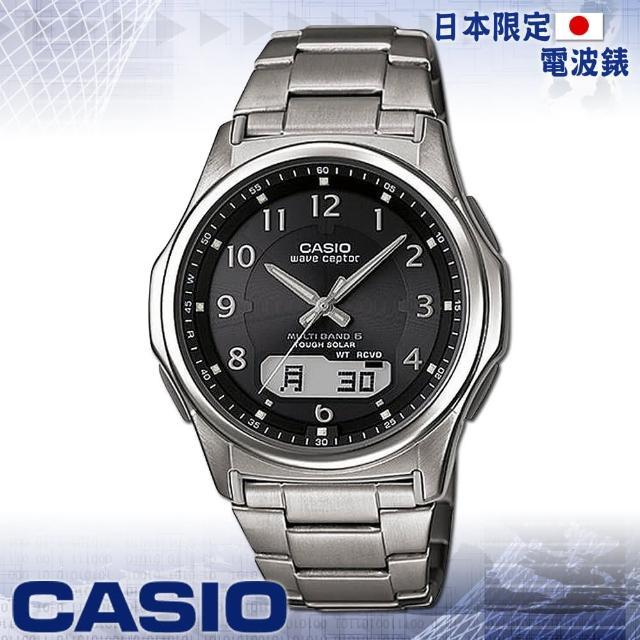 【CASIO 卡西歐】日系 太陽能 電波時計雙顯男錶(WVA-M630TDE 黑)
