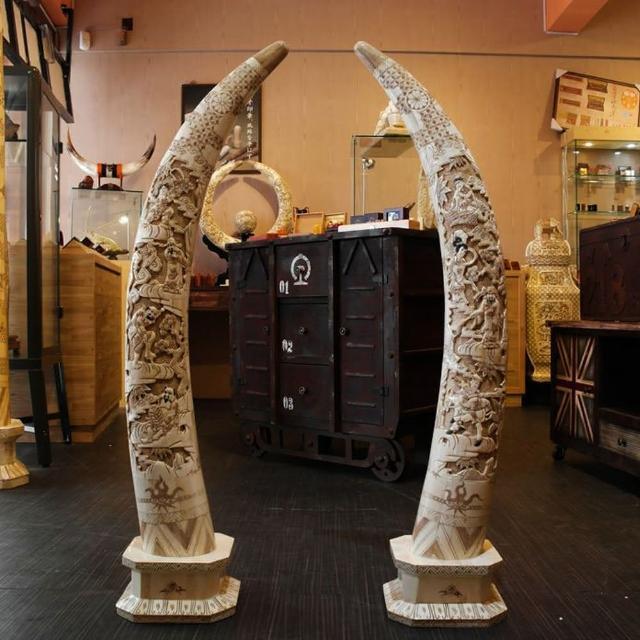 【橙印良品】南非獸骨雕八仙對牙柱(非現生象象牙)