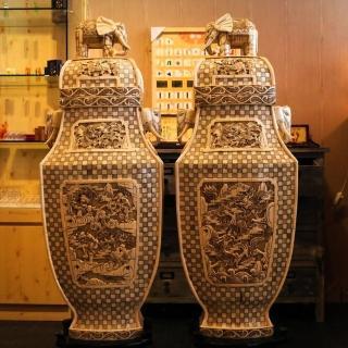 【橙印良品】南非獸骨雕巨象瓶兩瓶(非現生象象牙)