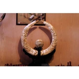 【橙印良品】南非獸骨雕龍珠彎對柱(非現生象象牙)