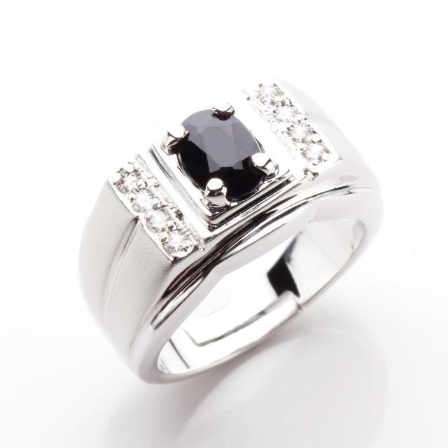 【寶石方塊】典藏名爵天然一克拉黑藍寶石戒指