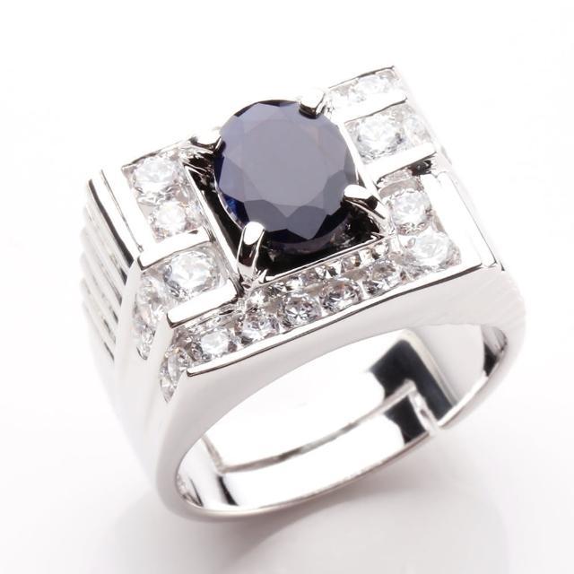 【寶石方塊】龍霸天下天然2克拉黑藍寶石戒指