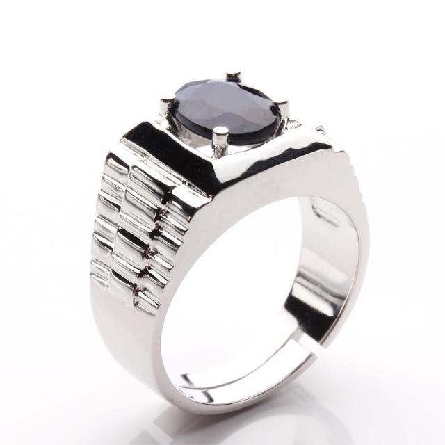 【寶石方塊】步步高昇天然2克拉黑藍寶石戒指-活圍設計