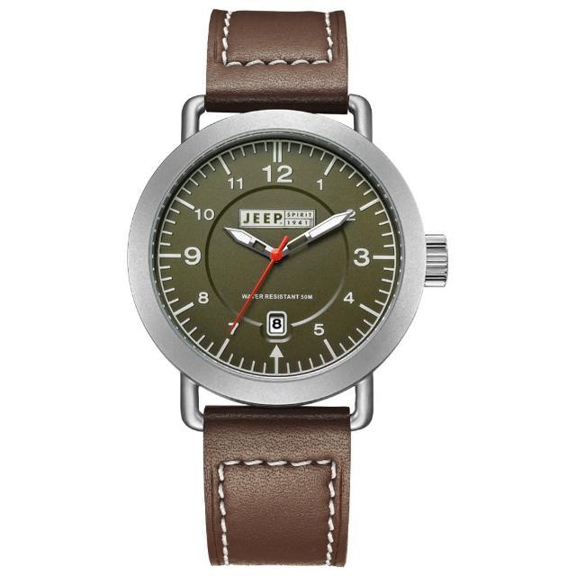 【Jeep Spirit】暗夜潛行休閒皮帶錶-銀框綠x咖啡色(JPS50303)