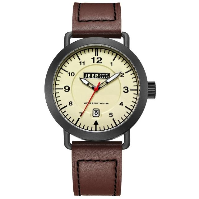 【Jeep Spirit】暗夜潛行休閒皮帶錶-黑框米白x咖啡色(JPS50301)
