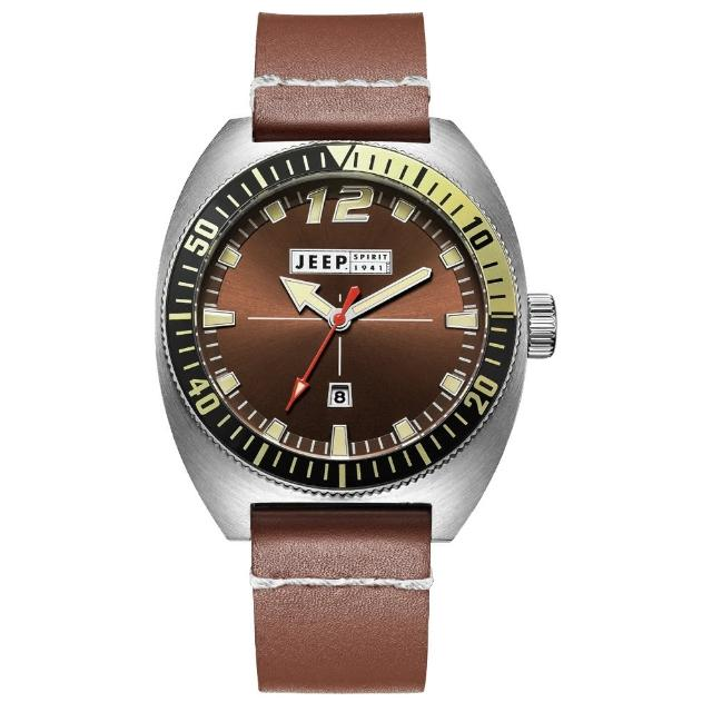 【Jeep Spirit】美國指標美式復古風腕錶-銀X褐色(JPS50201)