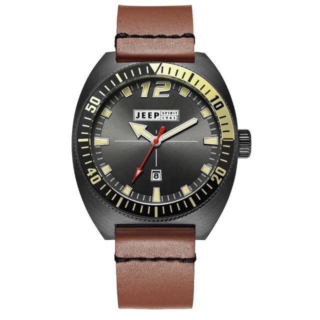 【Jeep Spirit】美國指標美式復古風腕錶-黑X褐色(JPS50203)