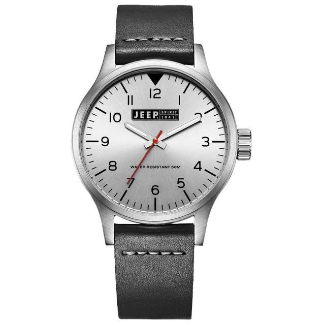 【Jeep Spirit】美式派對美國復古風腕錶-銀X黑色(JPS50101)