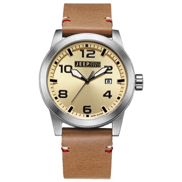 【Jeep Spirit】自然率性休閒皮帶錶-銀框淺黃x淺咖啡色(JPS70201)