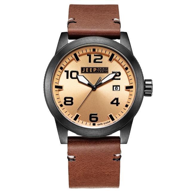 【Jeep Spirit】自然率性休閒皮帶錶-黑框淺橘x咖啡色(JPS70205)
