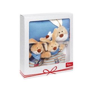 【德國Sigikid】點心兔兔-嬰兒彌月送禮(音樂鈴+安撫巾+枕頭禮盒)