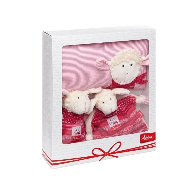 【德國Sigikid】甜心羊-嬰兒彌月送禮(音樂鈴+安撫巾+枕頭禮盒)