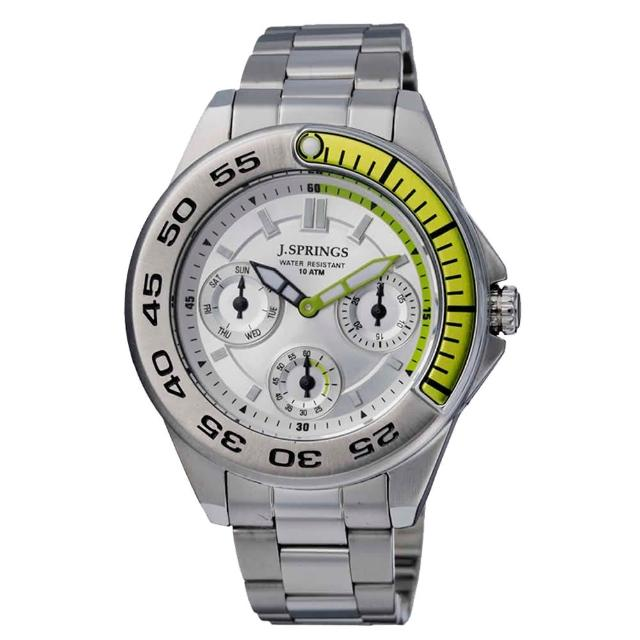 【J.SPRINGS系列】八度空間三眼時尚腕錶-綠X銀(JSBLA011)