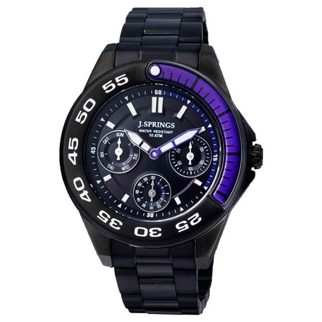 【J.SPRINGS系列】八度空間三眼時尚腕錶-紫X黑(JSBLA012)